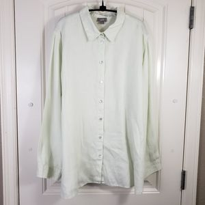J. Jill 100% Linen Spring Green Button-up Shirt